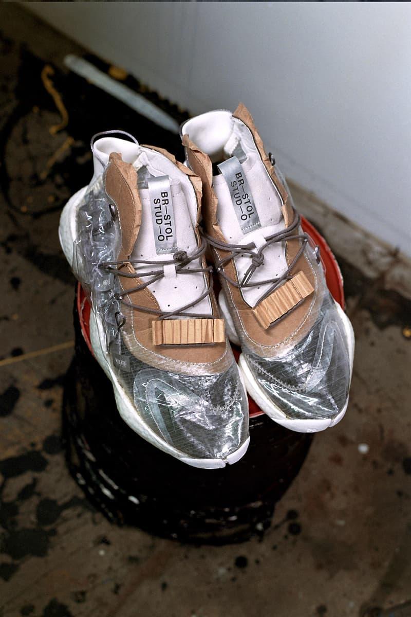 bristol studios adidas crazy byw the shoe surgeon custom diy raw industrial pvc plastic cardboard bespoke sneaker silhouette collaboration