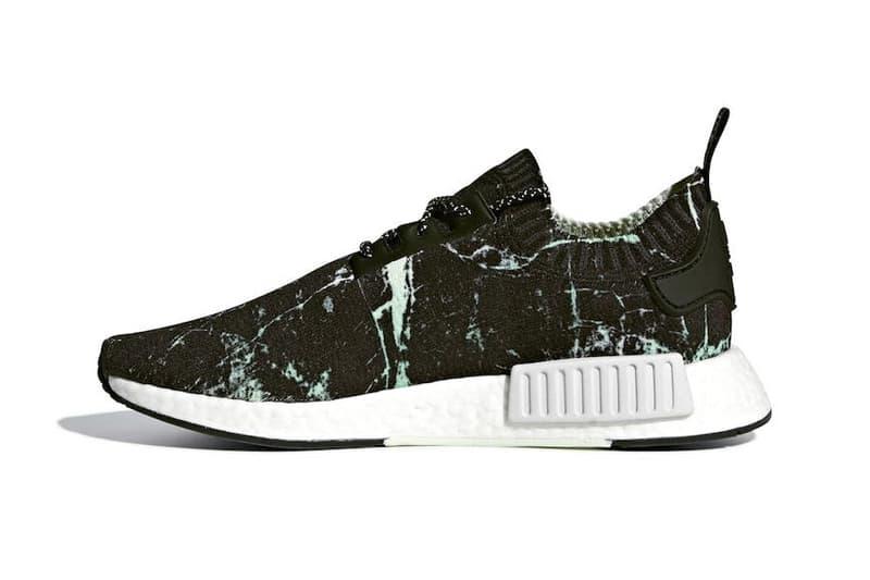 0b3d65c65 adidas NMD R1 Primeknit Green Marble release info sneakers footwear White