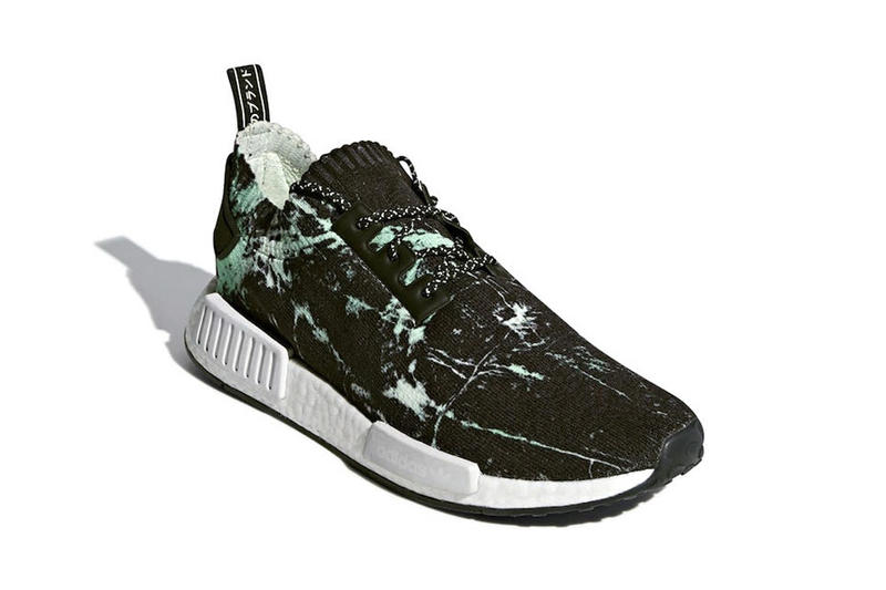 adidas NMD R1 Primeknit Green Marble release info sneakers footwear White