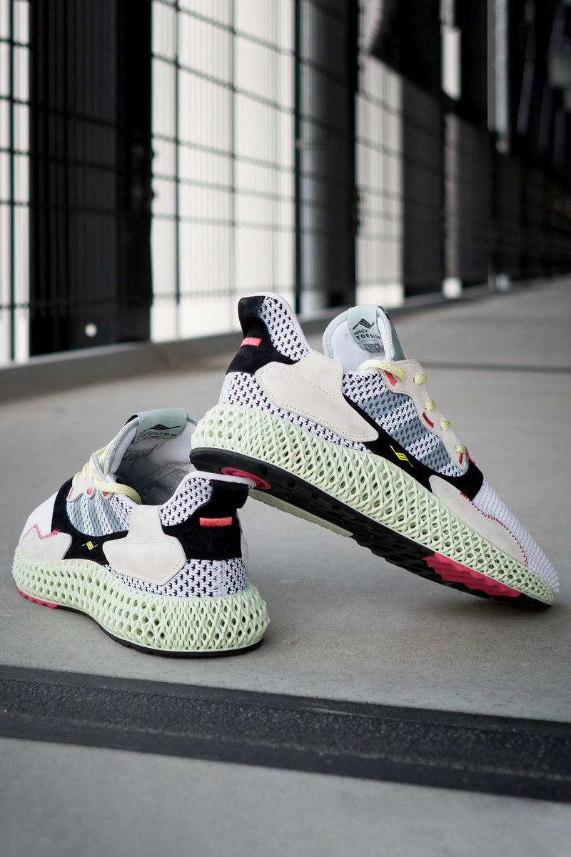 adidas zx 4000 4d sample randy galang futurecraft fall winter 2018 black tan beige white mesh woven cream B42203 FTWR WHT GREY TWO LINEN GREEN back rear heel torsion