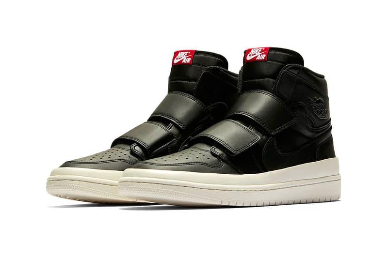 56a520eb951 Air Jordan 1 High Double Strap First Look velcro all-white black/white  sneaker