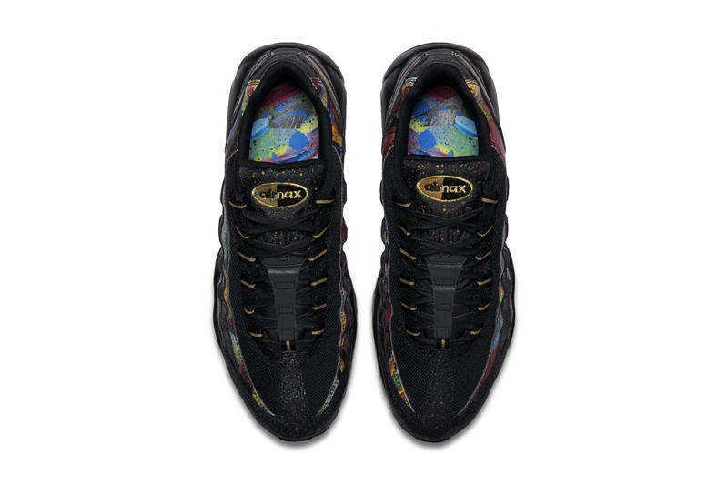 "Nike Air Max 95 ""Metallic Gold/Cobalt Blaze"" Paint Splatter Colorway first look sneaker multicolor black gold"