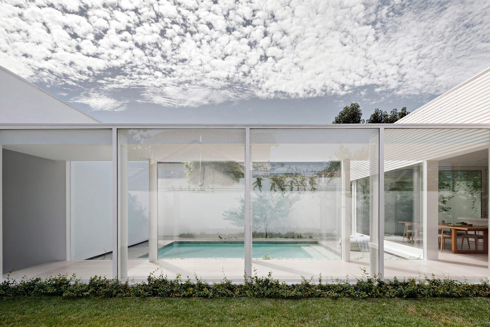All White House by Studio Four Architecture in Melbourne Australia Homes Houses Sleek Simplistic Modern Interior Exterior Swimming Pool