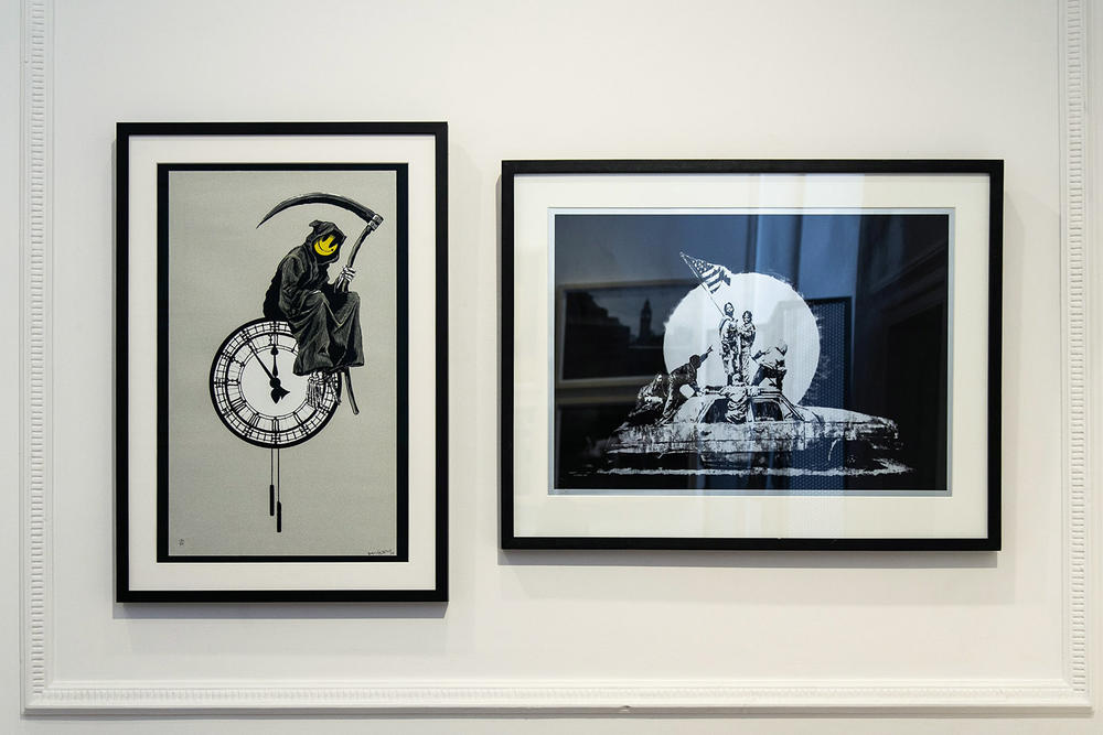 "Banksy ""Greatest Hits"" Exhibition Lazinc London Closer Look Inside Famous Art Pieces"