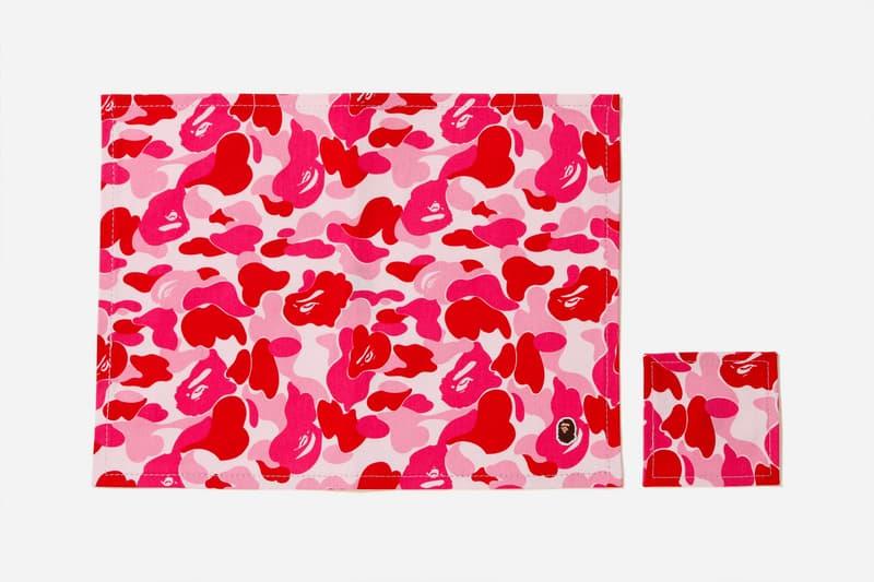 bape abc camo place mat coaster set pink