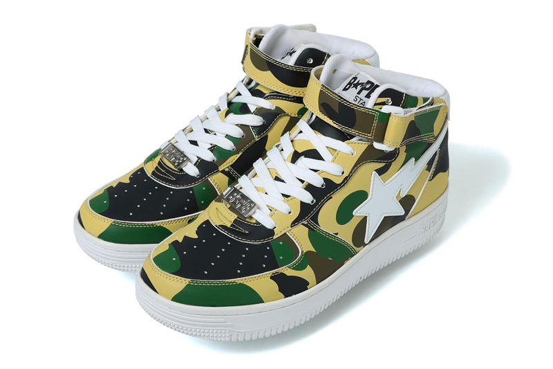 BAPE BAPESTA Mid 1st Camo Release info drop date colorways green yellow July 14 purchase price sneaker footwear