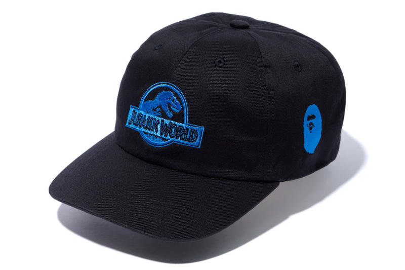 bape jurassic world fallen kingdom collaboration 2018 black cap blue branding ape head embroidery