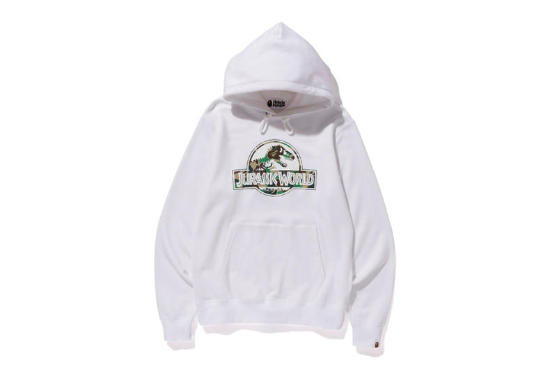 bape jurassic world fallen kingdom collaboration 2018 logo branding white camouflage hoodie long sleeve