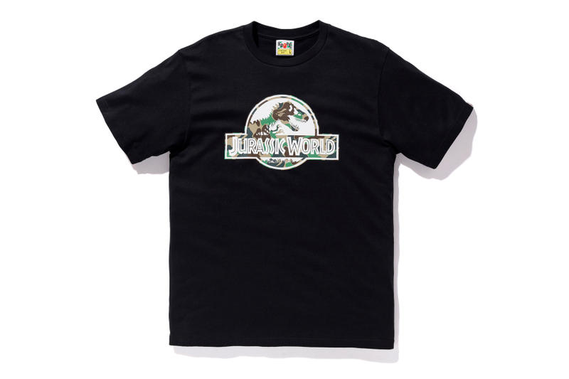 bape jurassic world fallen kingdom collaboration 2018 logo branding black tee shirt short sleeve camouflage