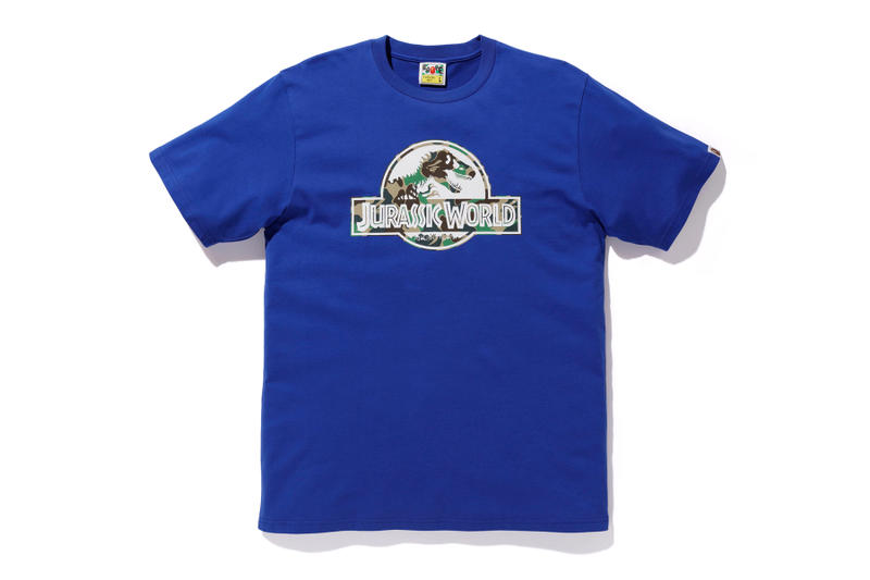 bape jurassic world fallen kingdom collaboration 2018 logo branding blue tee shirt short sleeve camouflage