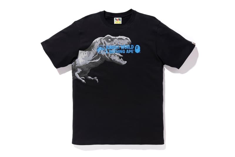 bape jurassic world fallen kingdom collaboration 2018 logo branding tee shirt short sleeve black tyrannosaurus