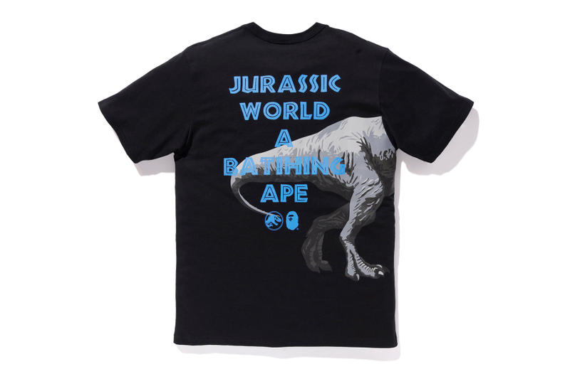 bape jurassic world fallen kingdom collaboration 2018 logo branding tee shirt short sleeve tyrannosaurus black rear back print