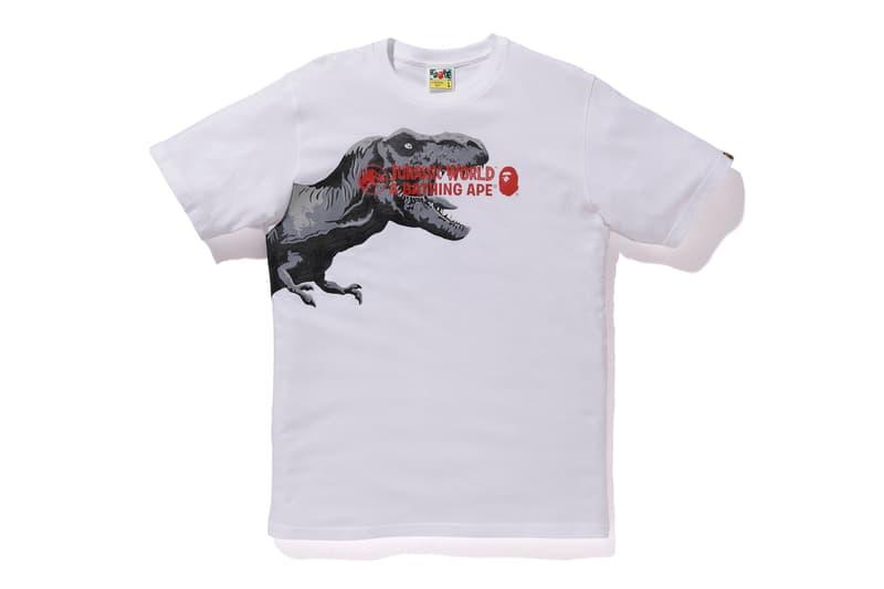 bape jurassic world fallen kingdom collaboration 2018 logo branding tee shirt short sleeve tyrannosaurus white front