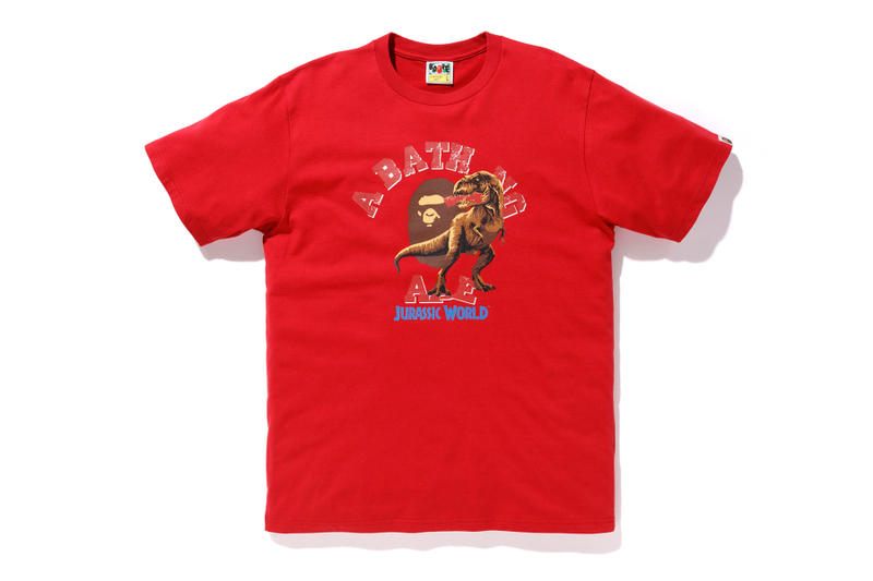 bape jurassic world fallen kingdom collaboration 2018 logo branding tee shirt short sleeve tyrannosaurus red ape head front