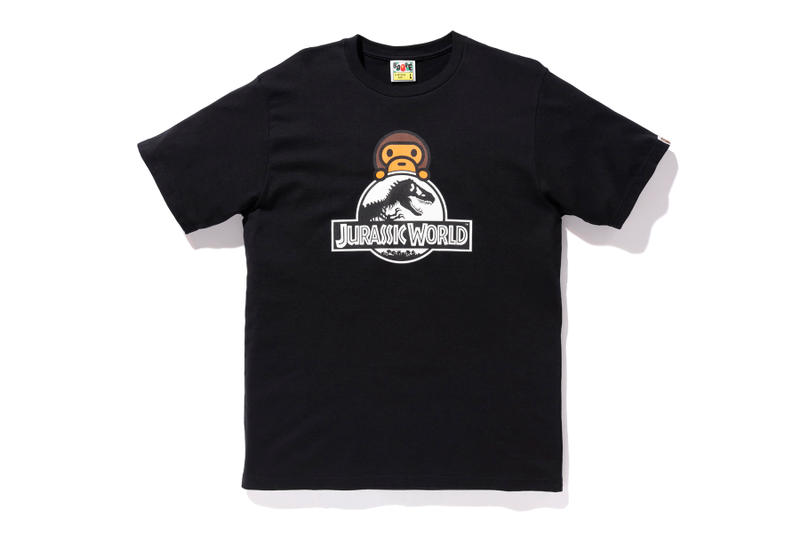 bape jurassic world fallen kingdom collaboration 2018 logo branding tee shirt short sleeve dinosaur white print baby milo black front