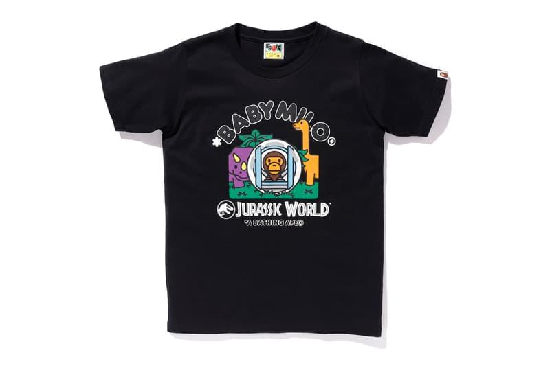 bape jurassic world fallen kingdom collaboration 2018 logo branding tee shirt short sleeve dinosaur baby milo black front print ball