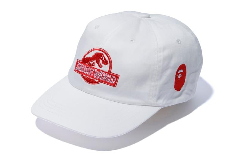 bape jurassic world fallen kingdom collaboration 2018 white cap red branding logo ape head embroidery