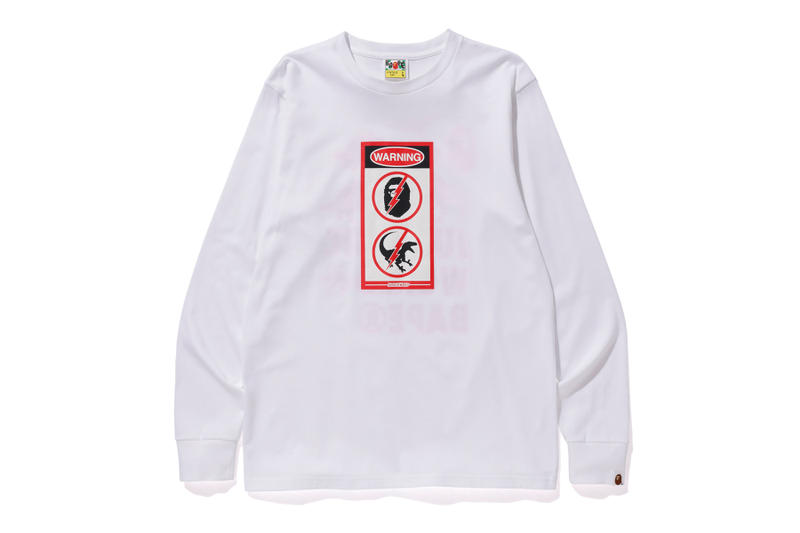 bape jurassic world fallen kingdom collaboration 2018 logo branding white long sleeve sweater red graphics ape head