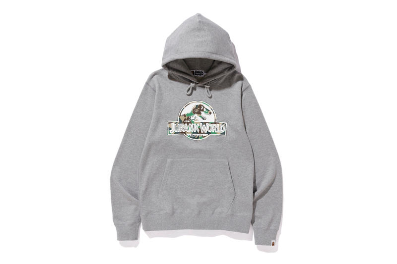 bape jurassic world fallen kingdom collaboration 2018 logo branding grey long sleeve hoodie camouflage