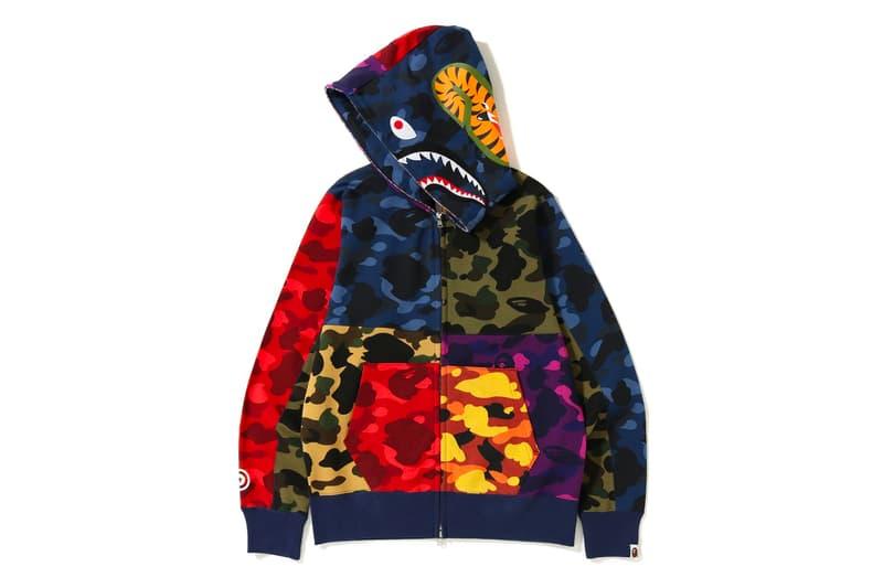 bape mix camo shark hoodie