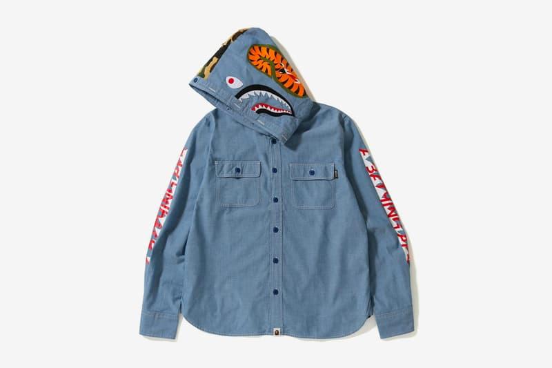 bape shark chambray hoodie shirt blue