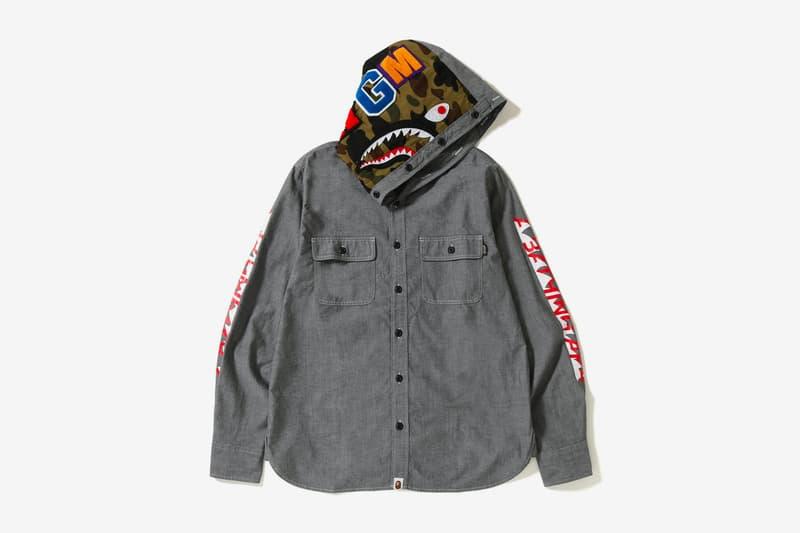 bape shark chambray hoodie shirt black