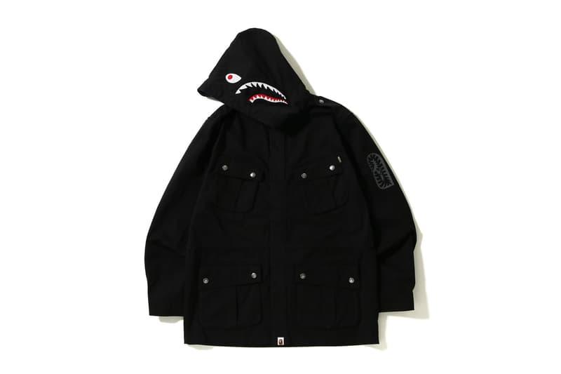 bape shark parachute jacket black
