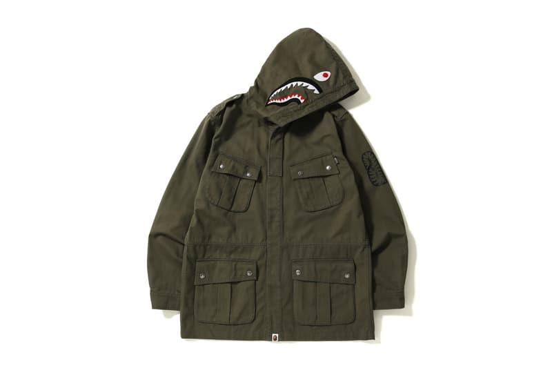 bape shark parachute jacket green