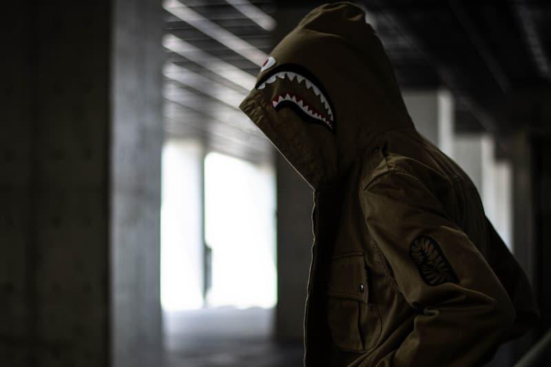 bape shark parachute jacket olive