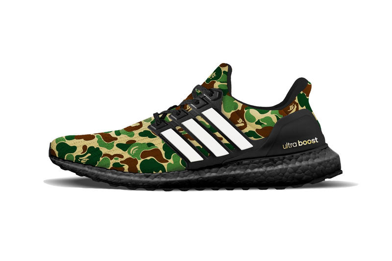 Bape adidas Ultraboost Rumor 2019 collaboration sneaker first camo pattern footwear drop release date info leak