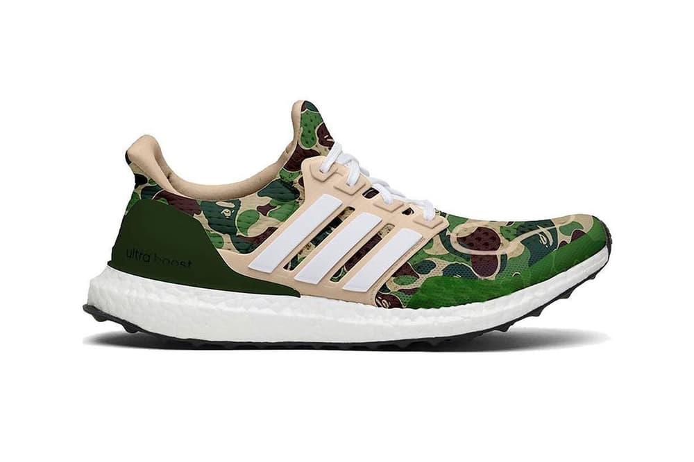 Bape adidas Ultraboost Rumor 2019 collaboration sneaker first camo pattern footwear drop release date info leak