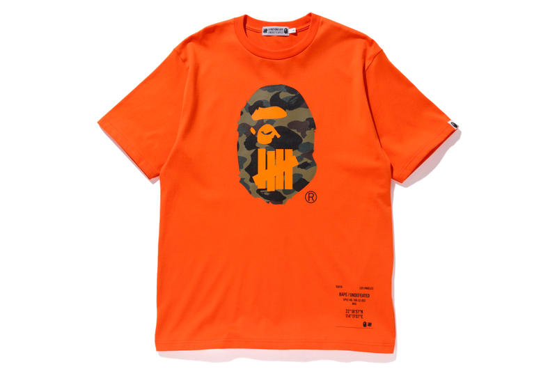bape undefeated hong kong exclusive capsule orange t shirt