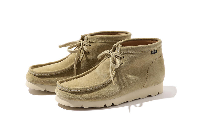 BEAMS clarks wallabee vibram sole gore tex lining collaboration exclusive drop release japan boot october 2018 buy purchase sale pre order tan suede beige christo