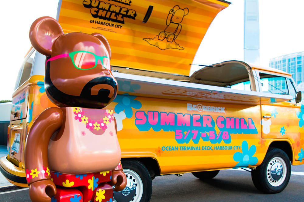 bearbrick harbour city summer chill 2000 Hawaiian print sun bathe truck