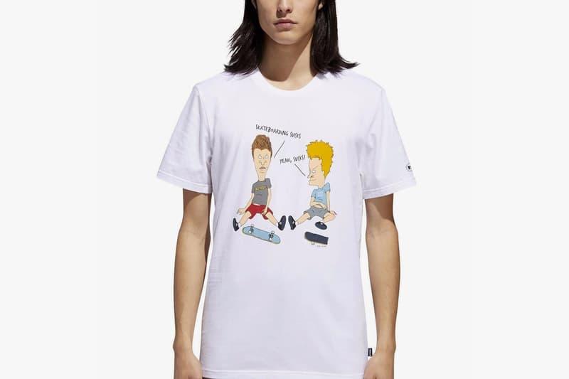 beavis and butt head adidas originals collaboration november 2018 white character skateboarding print short sleeve tee shirt mtv