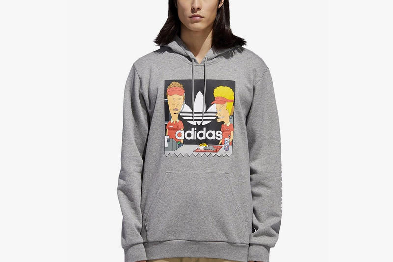 factory authentic 6be3d 6fb7d beavis and butt head adidas originals collaboration november 2018 grey  hoodie print rat restaurant logo