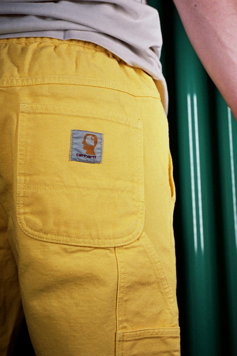 brain dead carhartt wip collaboration capsule july 14 drop release date info logo overalls tee shirt cap hat yellow carpenter pants graphic jacket release date sale buy