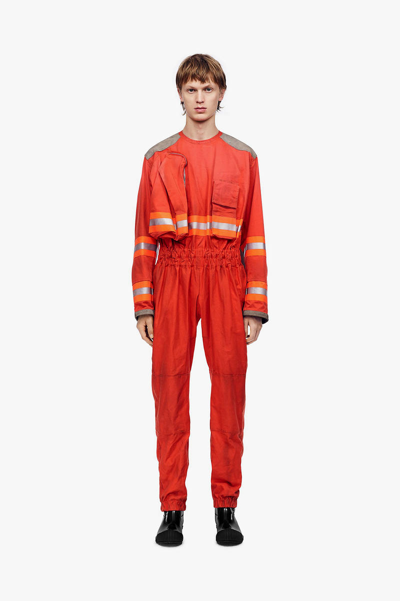 calvin klein 205w39nyc fireman man fighter distressed jacket coat jumpsuit orange yellow red outerwear ankle boot black white leather fall winter 2018 drop release date pre order buy sale shop sell