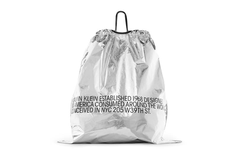 CALVIN KLEIN Oversized Metallic Drawstring Bag CALVIN KLEIN 205W39NYC raf simons release date price purchase