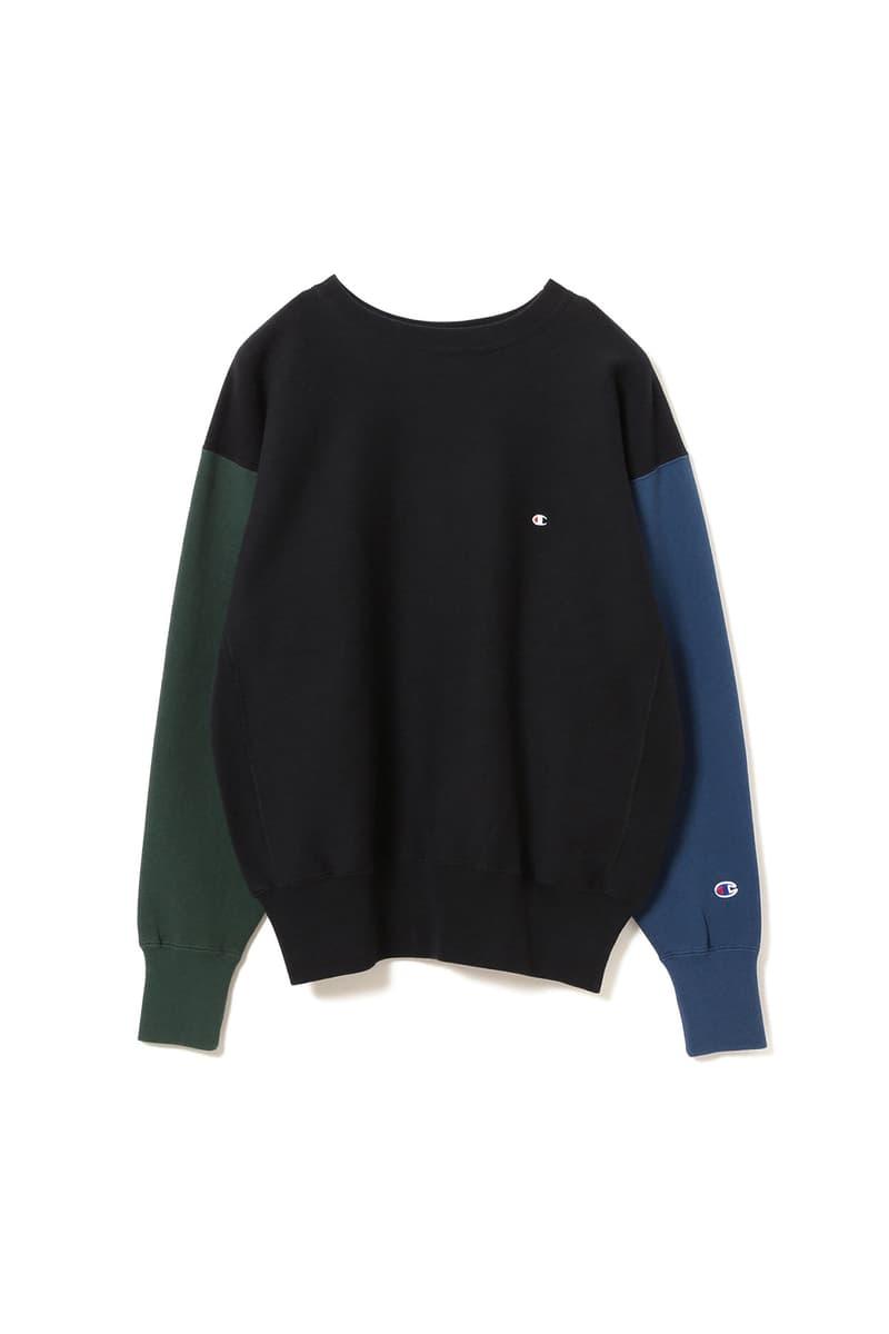 champion beams reverse weave color block sweat suit black grey collaboration shirt pants october 2018 drop release date info japan