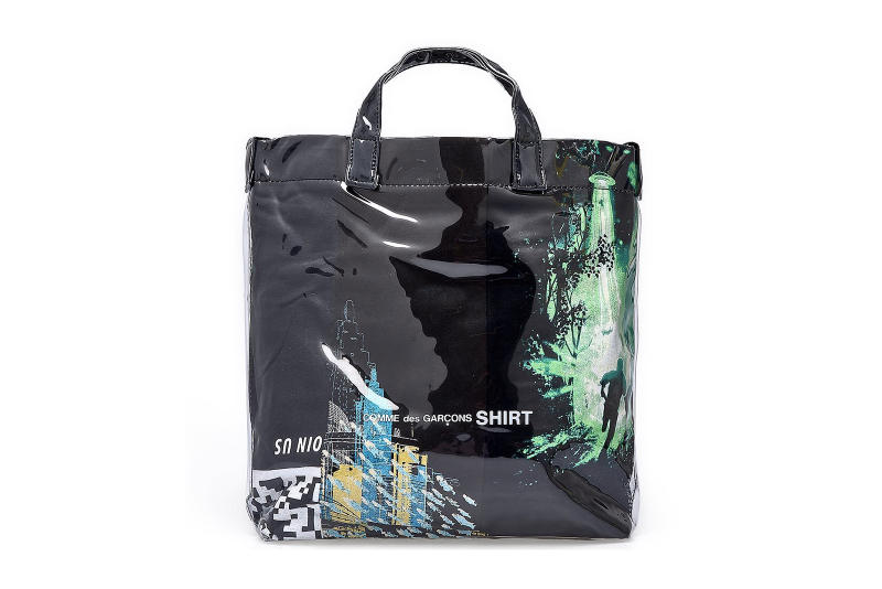 261126a44e0f comme des garcons shirt black plastic paper tote bags minecraft graphic  prints alien abduction city skyline