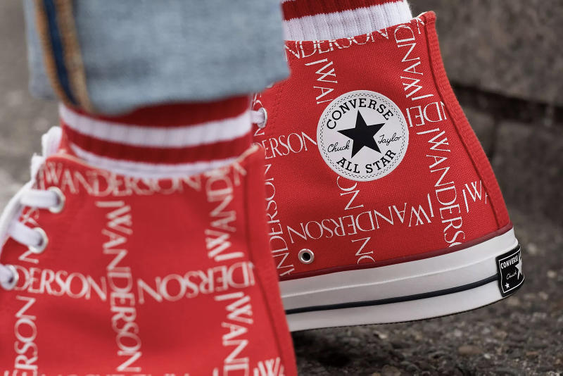 Converse x J.W. Anderson Chuck Taylor 70s Scarlet/White Closer Look Release Details Buy Cop Purchase Available Soon Sneakers Kicks Trainers Shoes Footwear