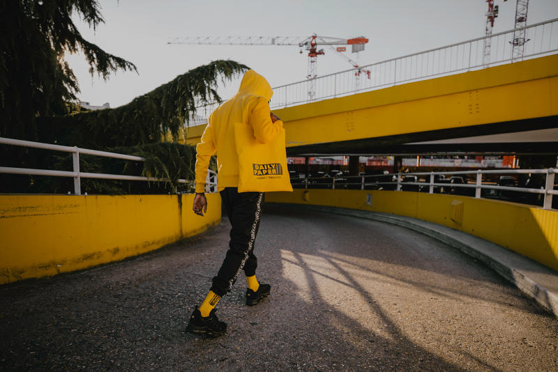 """Daily Paper """"Money Transfer"""" 2018 Capsule Collection Collab Lookbook Yellow Black Tees Tote Bags Track Pants Joggers Socks Hoodies"""
