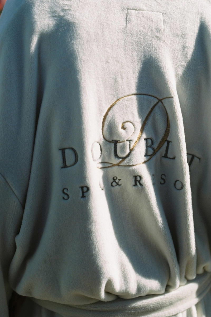 doublet 2018 Fall/Winter Lookbook Lookbooks Fashion LVMH Prize winner Masayuki Ino outwear jacket coat wendys hamburger track pants packaging foil metallic silver the painting cheetah tiger leather moto biker spa resort robe dog