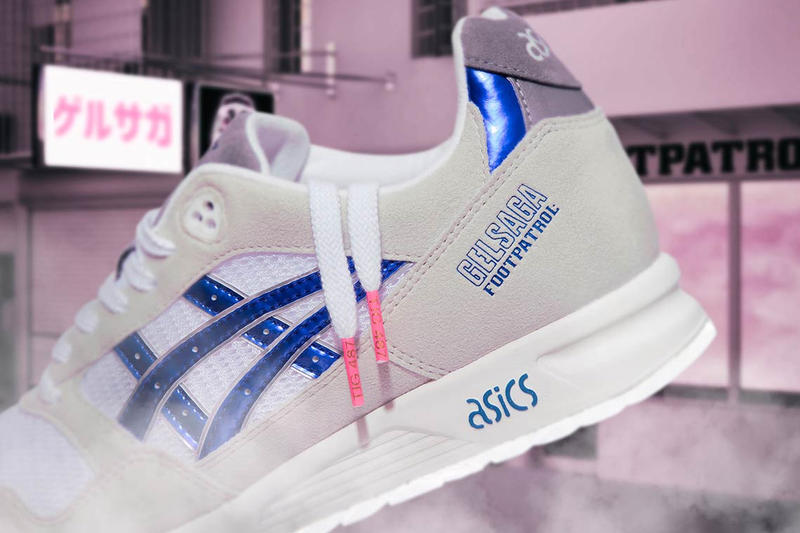 Footpatrol ASICS GEL-Saga Gundam Anime Release date closer look metallic blue sneaker collaboration price