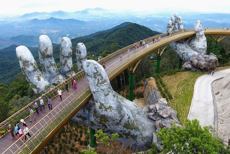 Giant Stone Hands Support Vietnam's New Golden Bridge