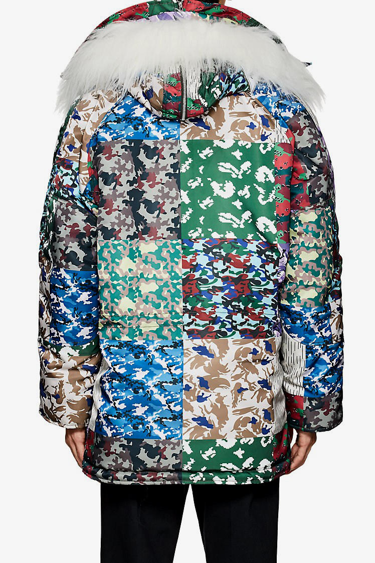 Gosha Rubchinskiy fall winter 2018 Patchwork Camouflage faux fake Fur n 3b Parka drop buy pre order tech fabric barneys nyc drop release date buy purchase sale 505814098