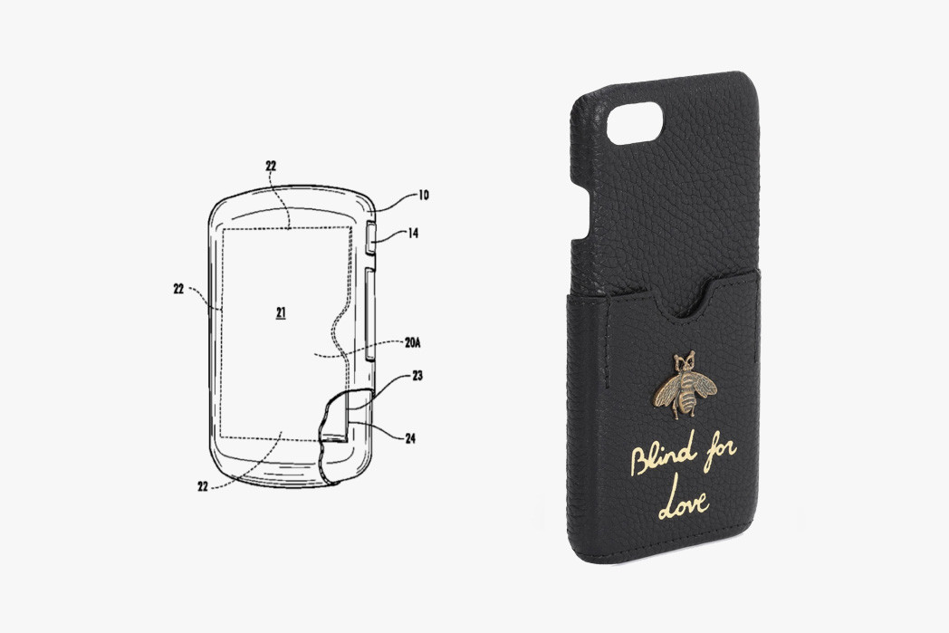 Gucci Sue lawsuit CardShark iPhone Case Patent Lawsuits Accessories card holding 8381904 utility  iPhone 7 case Animalier Bee Angry Cat Supreme Case embroidered GG Love Tiger L'Aveugle Par Amour Leather
