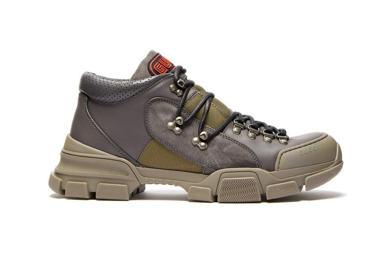 Gucci Flashtrek Hiking Boot Outdoor Sneaker Footwear Trail Chunky Grey Green Matchesfashion.com Release Details Information First Closer Look Shoes Trainers Walking