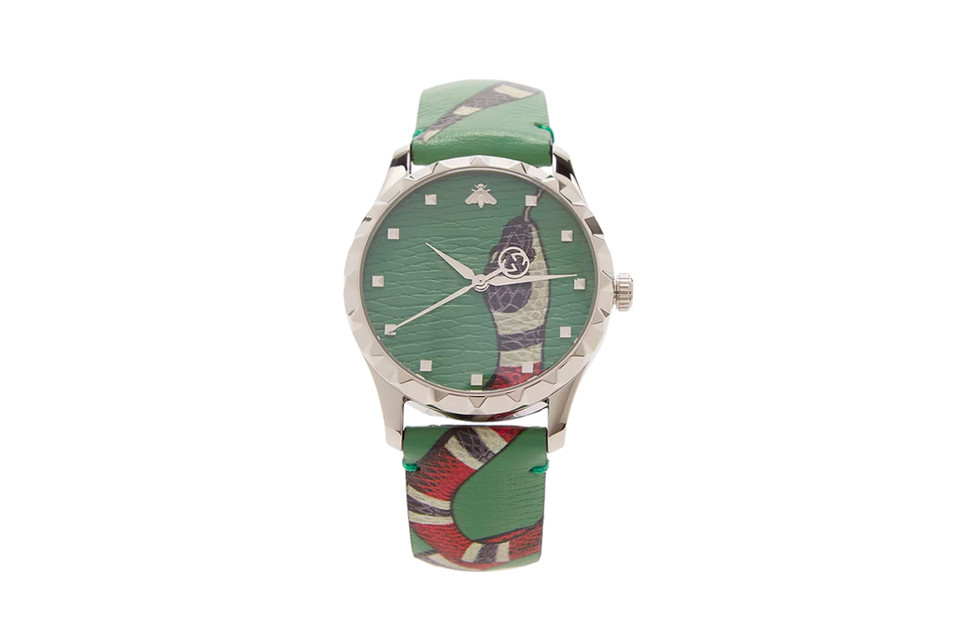 """db5bc0cd Gucci """"Kingsnake"""" Leather Watch"""